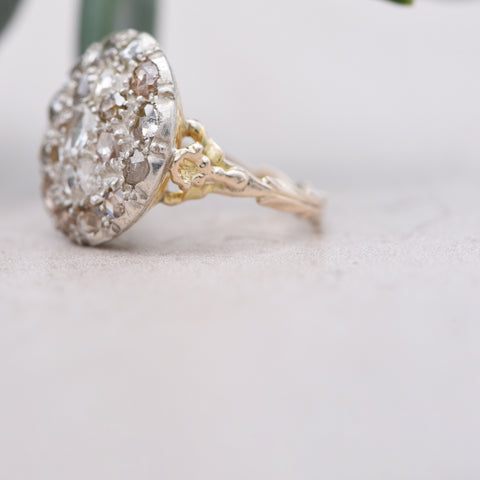 The Georgian Twenty One Diamond Antique Cluster Ring - Antique Jewellers Ltd