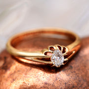 The Antique 1920 Pear Drop Solitaire Diamond Ring - Antique Jewellers Ltd