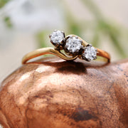 The Vintage Bright Brilliant Cut Trio Twist Diamond Ring - Antique Jewellers Ltd