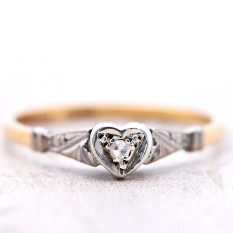 The Vintage Heart Gift Solitaire Diamond Ring - Antique Jewellers Ltd