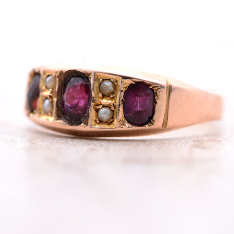 The Antique 1890 Victorian Garnet and Pearl Ring - Antique Jewellers