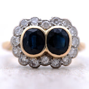 The Deep Blue Paired Sapphire and Diamond Vintage Ring - Antique Jewellers Ltd