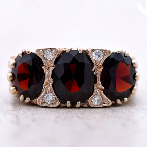 The 1973 Garnet & Diamond Scrolled Top Vintage Ring - Antique Jewellers