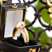 The Vintage Gold 1968 Garnet Eyed Snake Ring - Antique Jewellers Ltd