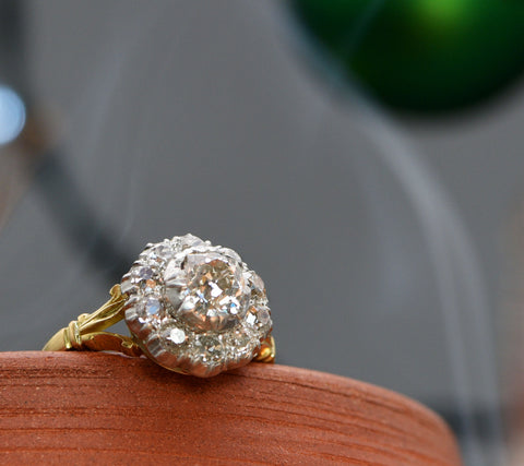 The Antique Early Victorian Standout Cluster Diamond Ring - Antique Jewellers