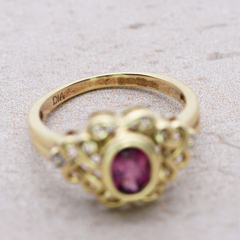 The Celtic Love Knot Entwined Pink Ruby and Diamond Ring - Antique Jewellers Ltd