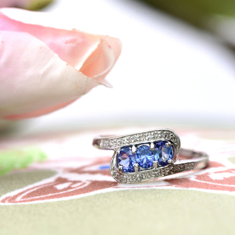 The Swoop Suspended Tanzanite and Diamond White Gold Ring - Antique Jewellers