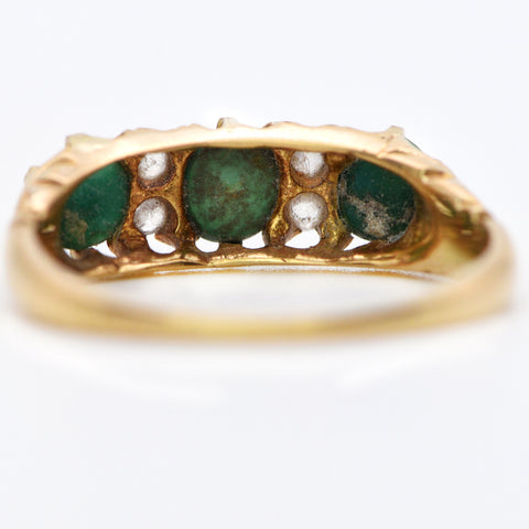 The Antique 1911 Turquoise and Diamond Trilogy Ring - Antique Jewellers