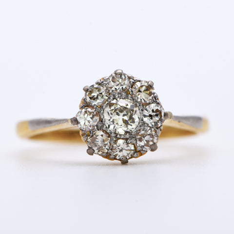 The Antique Bright Cluster Diamond Ring - Antique Jewellers Ltd