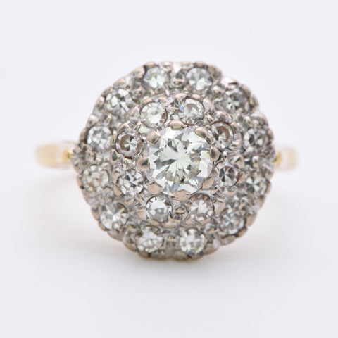 The Vintage Three Level Twenty One Diamond Cluster Ring - Antique Jewellers Ltd