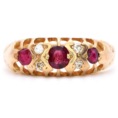 The Antique Edwardian Ruby and Diamond Ring - Antique Jewellers Ltd
