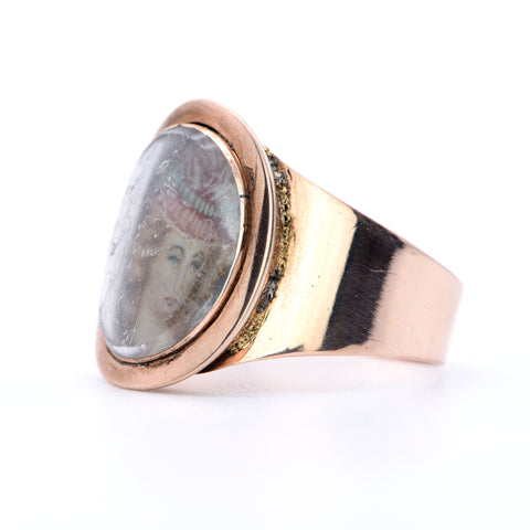 The Georgian 19th Century Susanna Garfield of Hastings Portrait Ring - Antique Jewellers