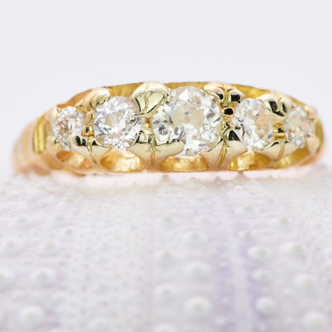 The Antique Victorian 1899 Five Diamond Ring - Antique Jewellers