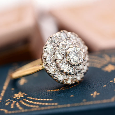 The Vintage Three Level Twenty One Diamond Cluster Ring