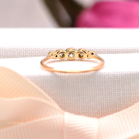 The Slim Vintage Bezel Set Five Diamond Ring - Antique Jewellers