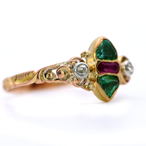 The Ornate Banded 19th Century Triangular Emerald, Ruby and Diamond Ring - Antique Jewellers