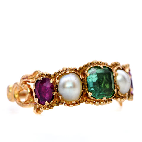 The Antique Georgian Emerald, Ruby & Pearl Ring - Antique Jewellers