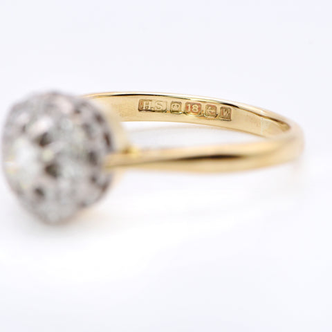 The Vintage Brilliant Cut Raised Cluster Diamond and Gold Ring - Antique Jewellers