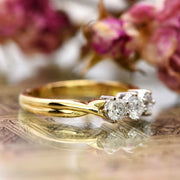 The Vintage Twisted Terminal Three Stone Diamond Gold Ring - Antique Jewellers