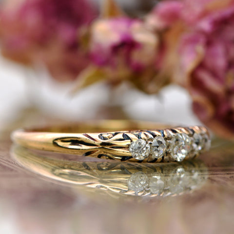 The Victorian Scroll Topped Diamond Ring - Antique Jewellers