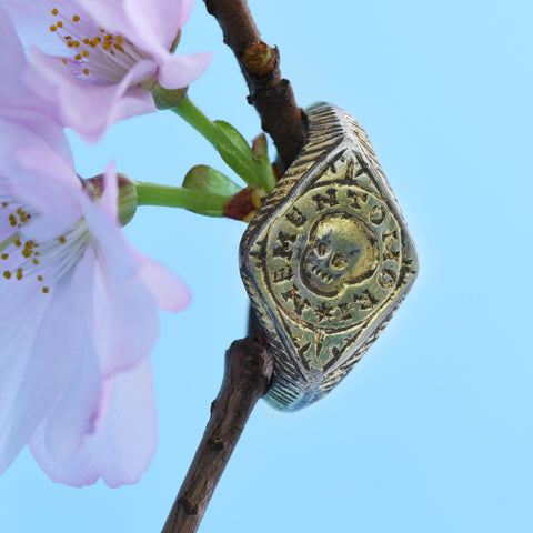 The Post Medieval Wearable Gilded Memento Mori Ring - Antique Jewellers
