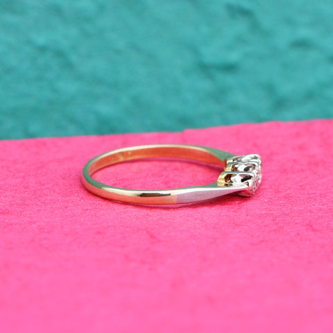 The Vintage Bright & Light Trio Diamond Ring - Antique Jewellers