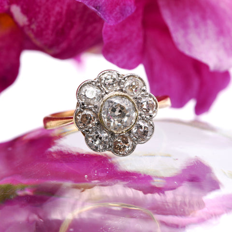 The Victorian Playful Flower Diamond Engagement Ring - Antique Jewellers
