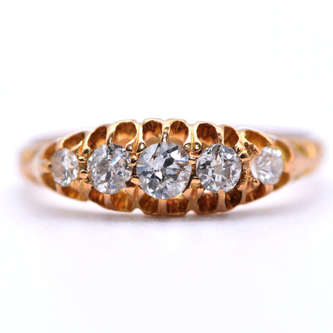 The Edwardian Graduated Five Diamond Gold Engagement Ring - Antique Jewellers Ltd