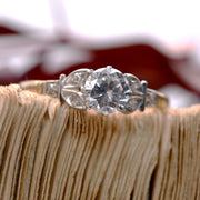 The Vintage Lively Seven Stone Floral Engagement Ring - Antique Jewellers Ltd