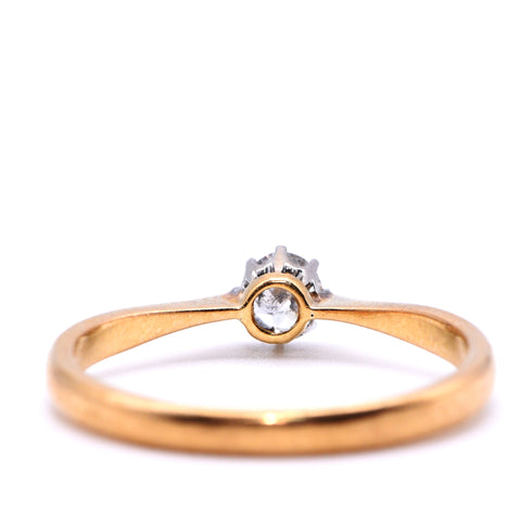 Claw Set Solitaire Diamond Engagement Ring, Old Round Cut, 0.25ct, Q - Antique Jewellers Ltd