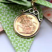 The George V 1911 22ct Gold Full Sovereign Coin Pendant - Antique Jewellers Ltd