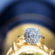 Multi-faceted Diamond Cluster Engagement Ring, Antique Victorian, 1.2ct, J - Antique Jewellers Ltd