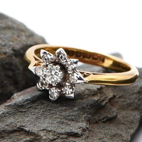 The Vintage 18 Carat Gold 1967 Floral Diamond Engagement Ring - Antique Jewellers Ltd