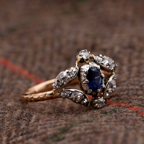 Engagement Ring - Antique, Standout, Victorian - Diamond Surrounded Sapphire Engagement Ring, Antique Victorian, O½ - Antique Jewellers Ltd.