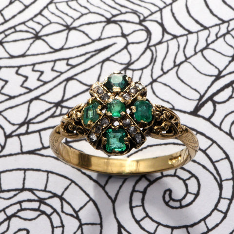 Engagement Ring - Standout - Ornate Emerald and Diamond Ring, 18 Carat Gold, Size P - Antique Jewellers Ltd.