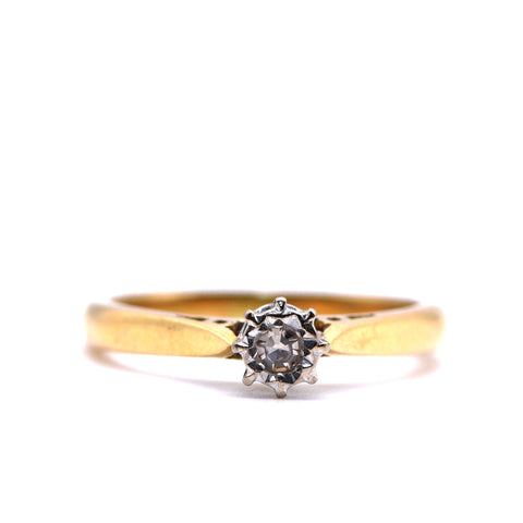 Illusion Set Diamond Solitaire Engagement Ring, 18 Carat Gold, Vintage (1968), J - Antique Jewellers Ltd