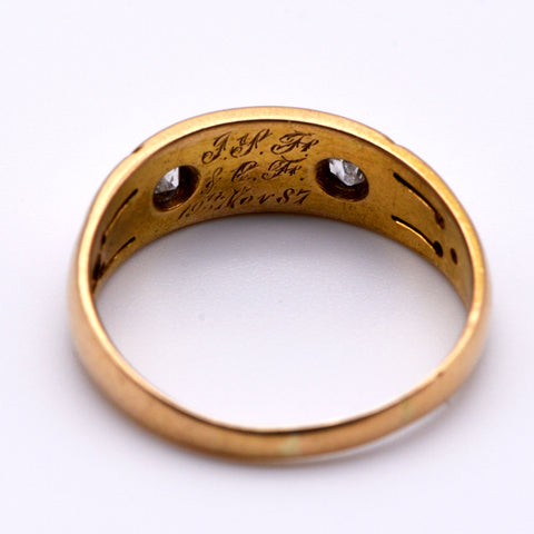 The Early 19th Century Engraved Diamond & Pearl Engagement Ring - Antique Jewellers Ltd