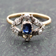 Diamond Surrounded Sapphire Engagement Ring, Antique Victorian, O½