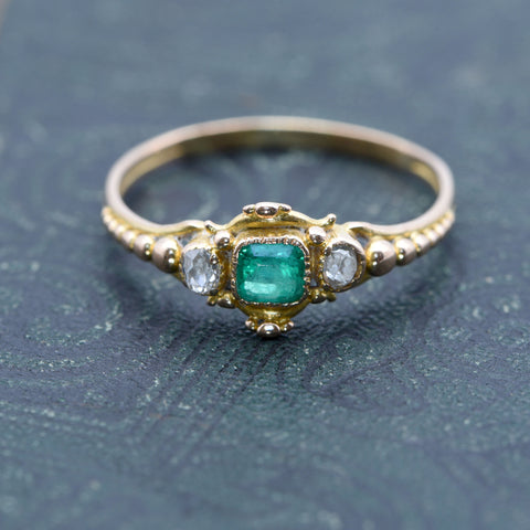 The Handmade Victorian Brighton Emerald Engagement Ring - Antique Jewellers Ltd