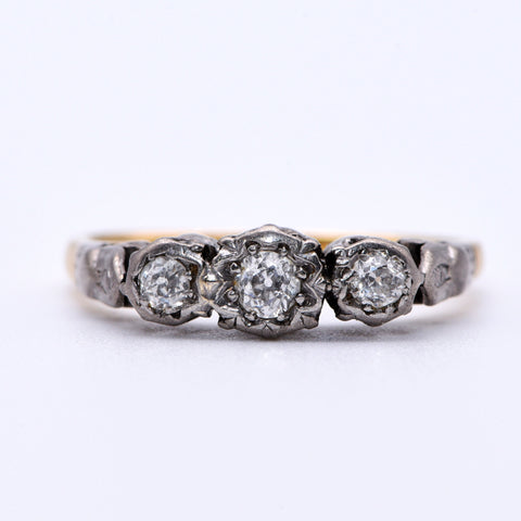 Three Stone Old Cut Diamond Engagement Ring, Vintage, 0.16ct, N - Antique Jewellers Ltd