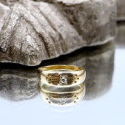 The Early Victorian Chased Gallery Diamond Ring - Antique Jewellers