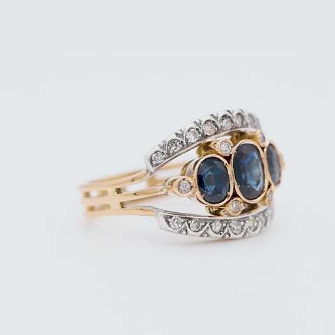 The Italian Vintage Art Deco Sapphire and Diamond Ring