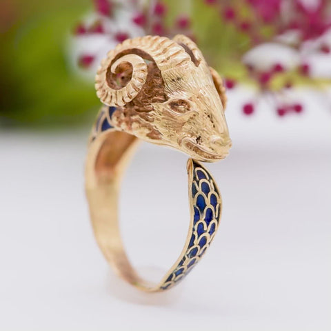 The Victorian Etruscan Form Rams Head Ring