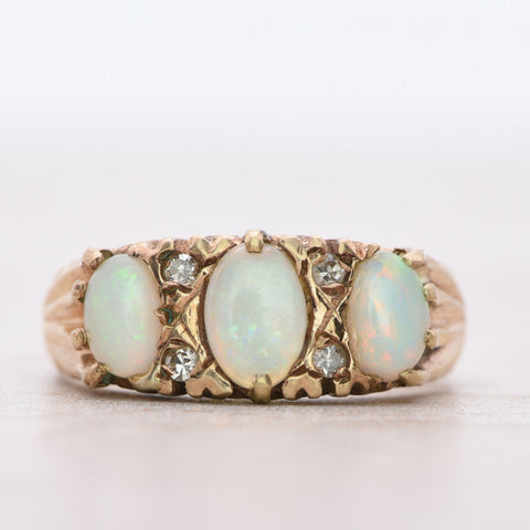 The 1973 Vintage White Opal Trilogy and Diamond Gold Ring - Antique Jewellers Ltd