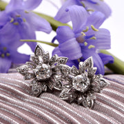 The Old European Cut Floral Cluster Diamond Earrings - Antique Jewellers Ltd