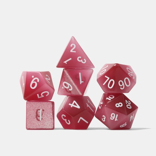 Cat's Eye Pink Dice Set