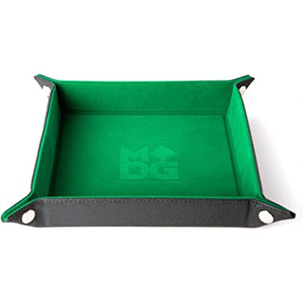 Green Velvet Dice Tray With Leather Backing