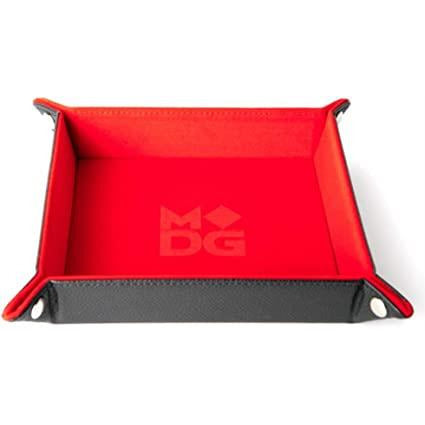 Red Velvet Dice Tray With Leather Backing
