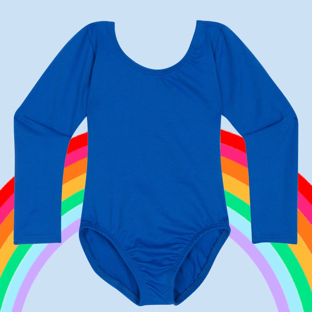 Light blue, royal blue, turquoise, and navy blue leotards