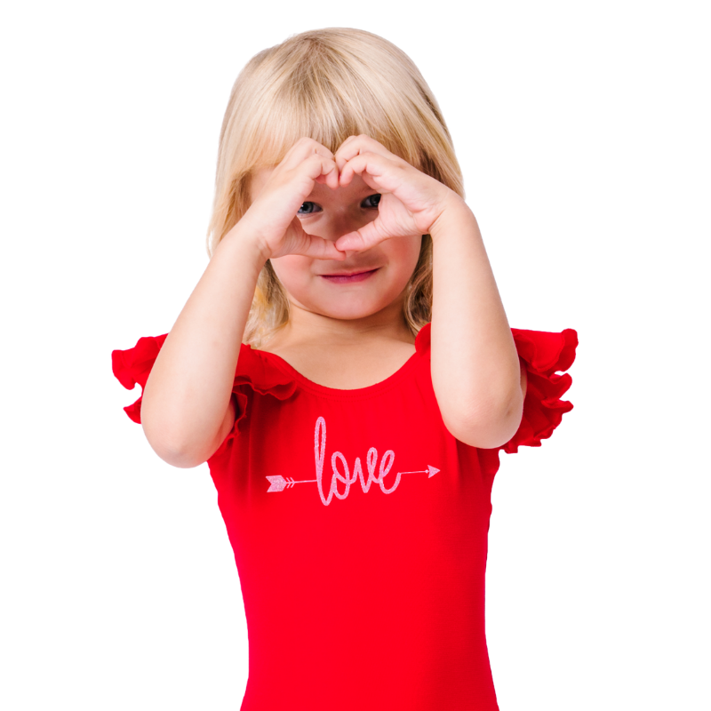 Girls Valentine's Day Red Ruffle Love Top with Arrow